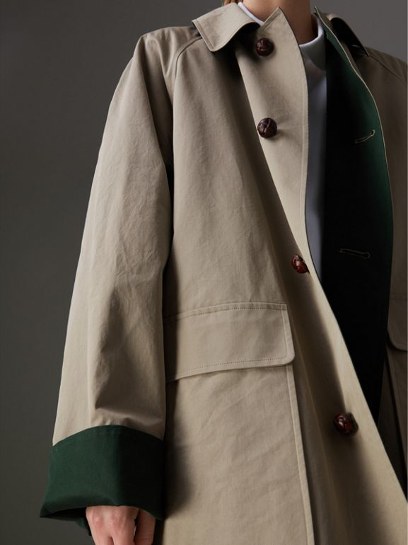 Reissued Waxed Cotton Gabardine Car Coat in Khaki - Women | Burberry United Kingdom - cell image 1