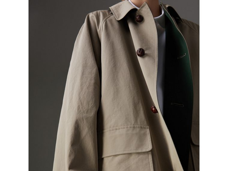 Reissued Waxed Cotton Gabardine Car Coat in Khaki - Women | Burberry Australia - cell image 1