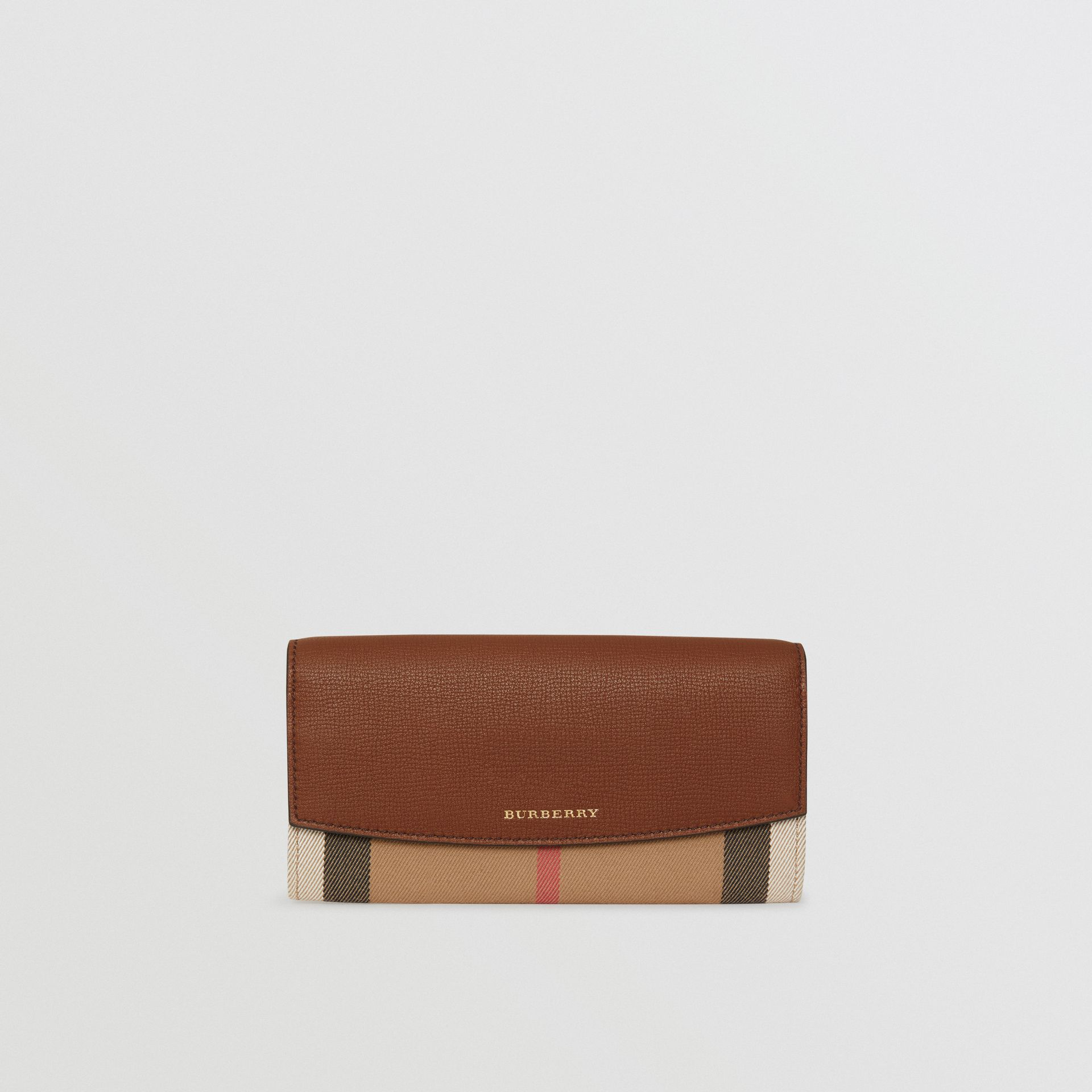 House Check And Leather Continental Wallet in Tan - Women | Burberry United States - gallery image 0