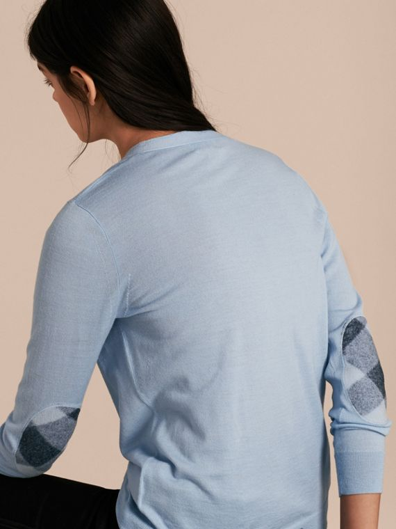 Check Detail Merino Wool Cardigan Pale Cornflower Blue - cell image 2