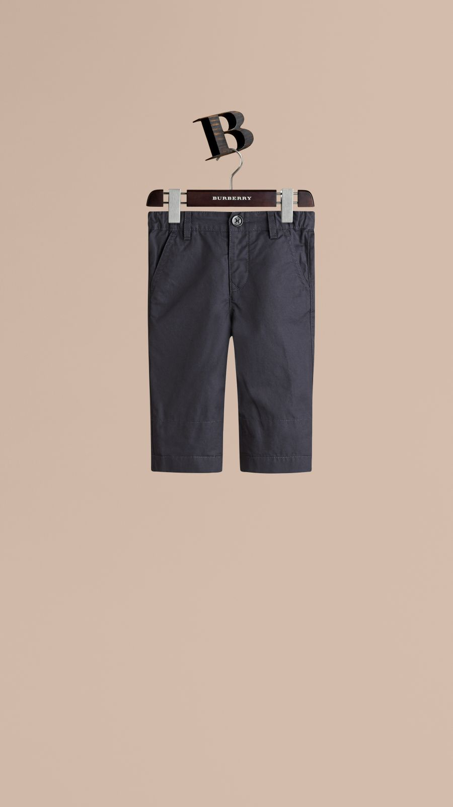 Encre Pantalon chino avec revers en check Encre - Image 3