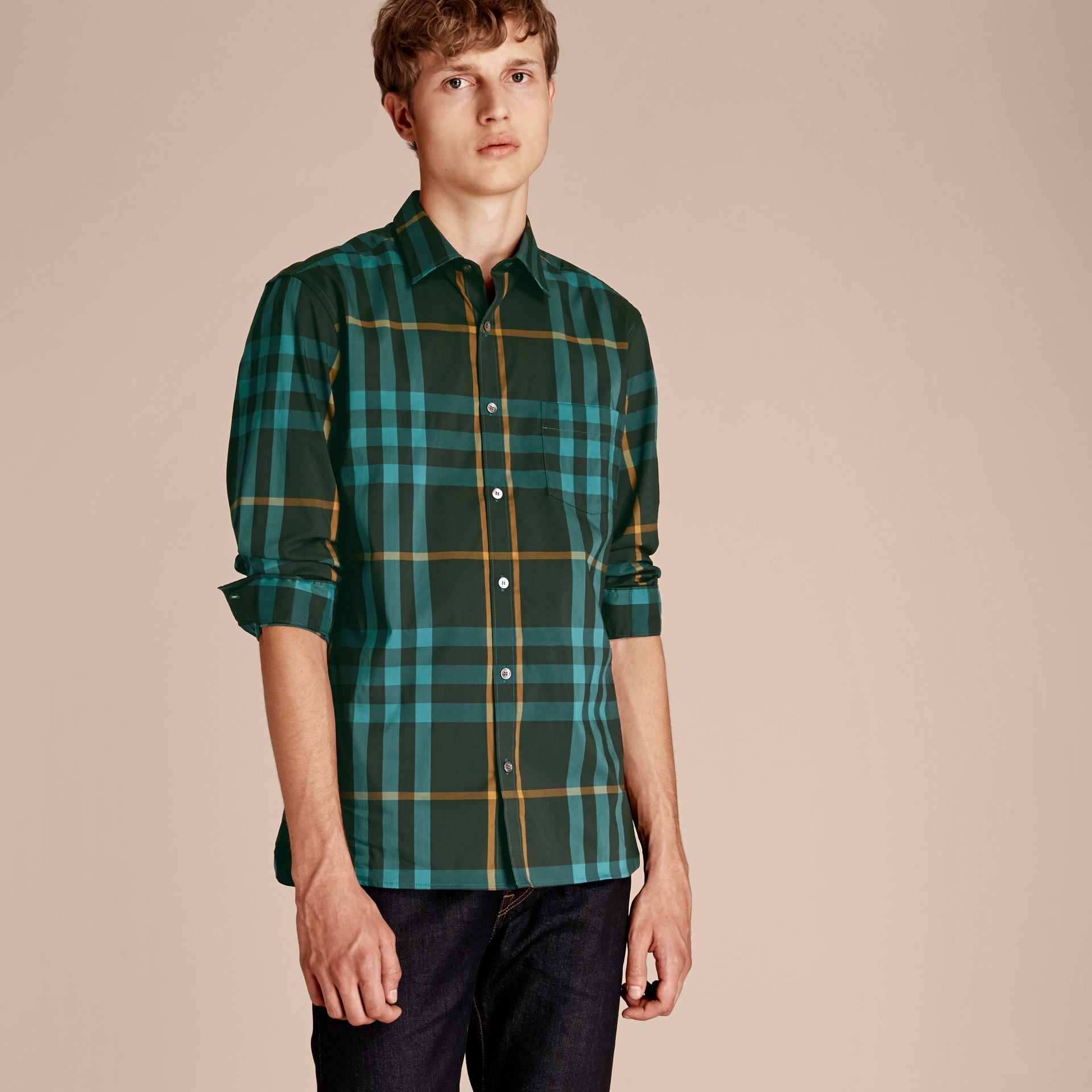 Check Stretch Cotton Shirt Dark Turquoise - gallery image 6