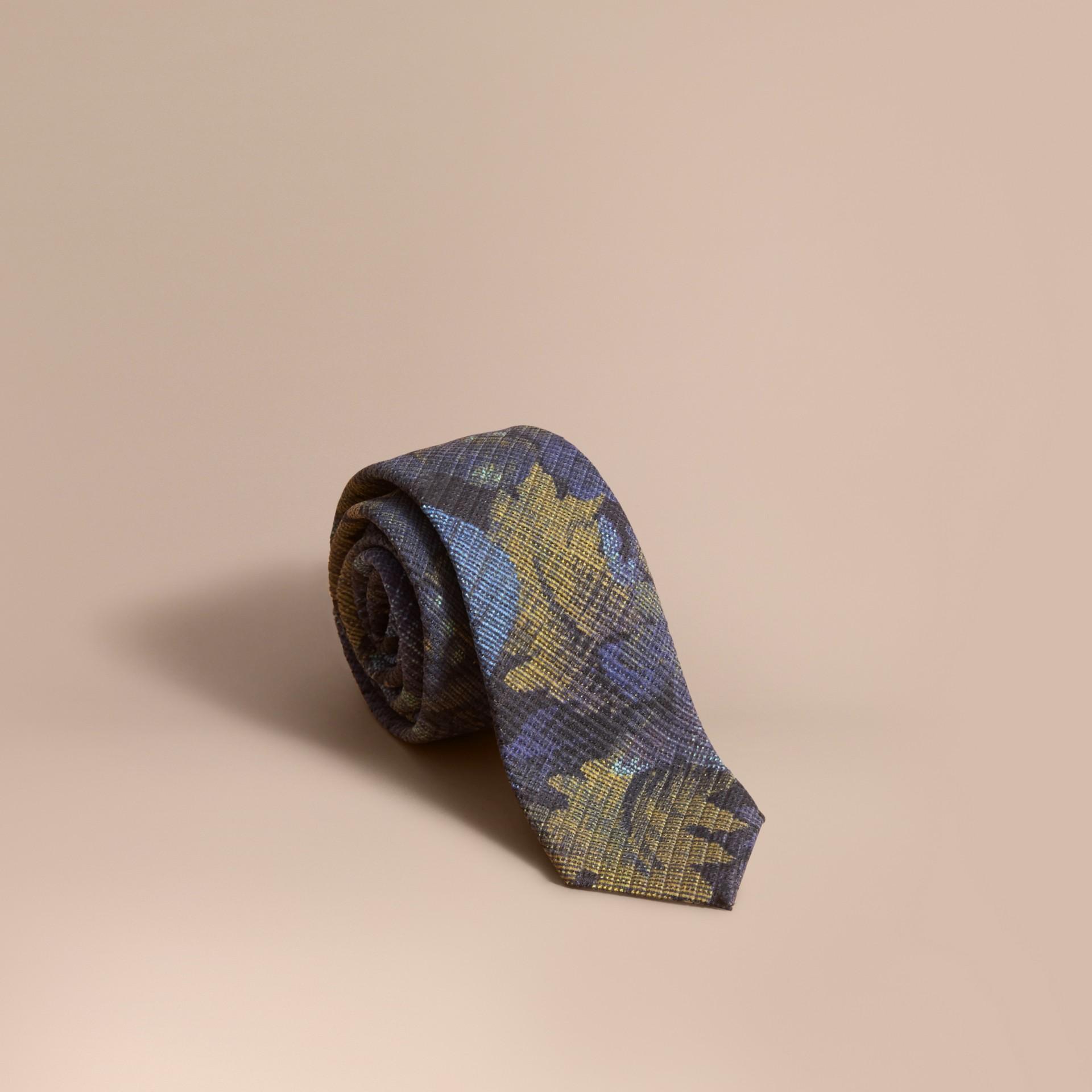 Corbata de pala moderna con motivo de tapiz Índigo Intenso - imagen de la galería 1