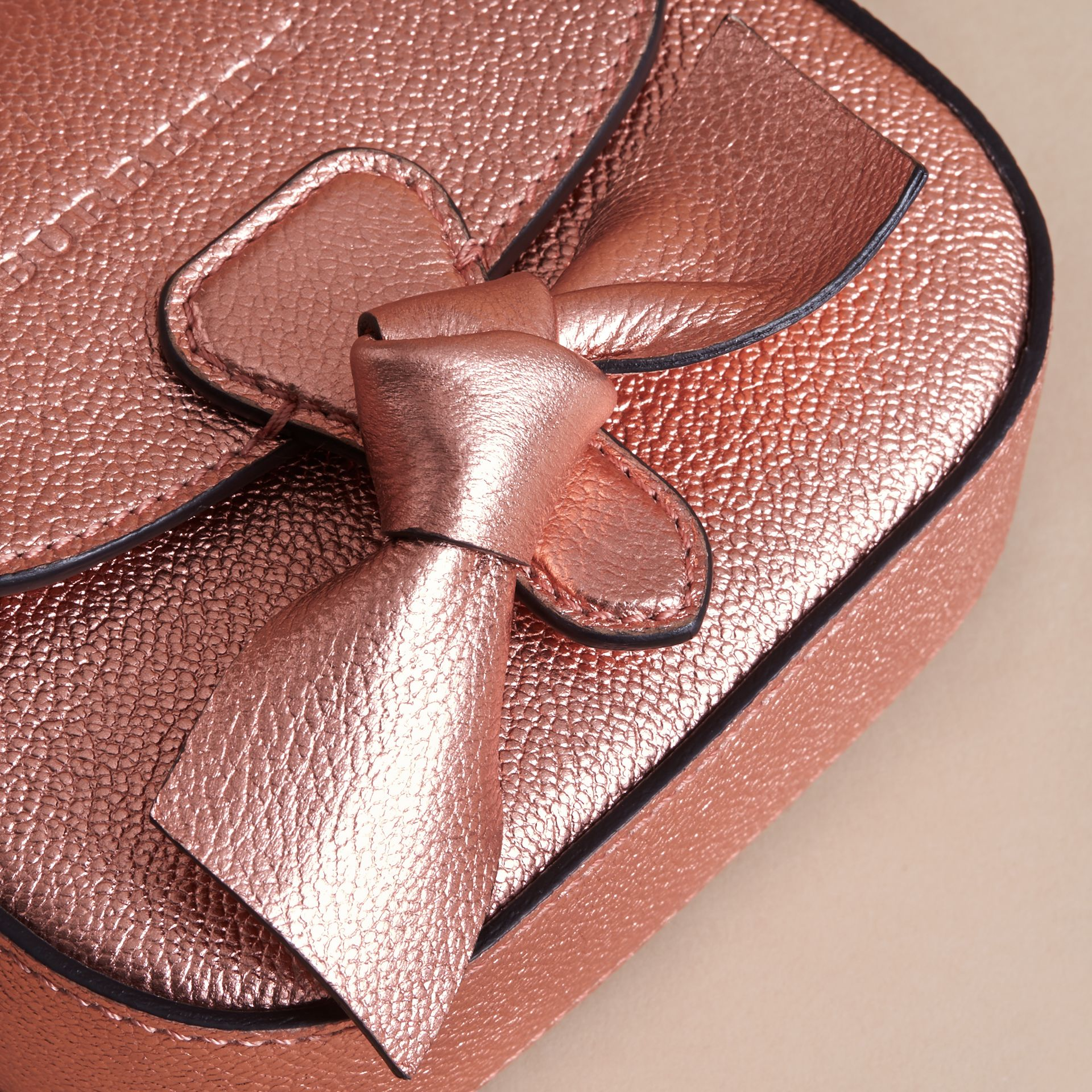 Metallic Leather Crossbody Bag in Copper Pink | Burberry - gallery image 1