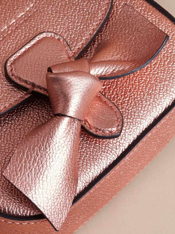 Metallic Leather Crossbody Bag in Copper Pink | Burberry - cell image 1