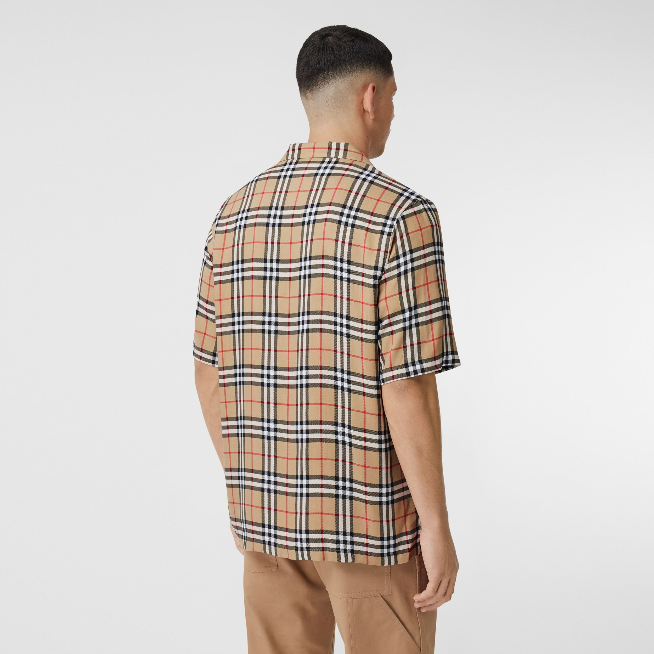 Short-sleeve Vintage Check Twill Shirt in Archive Beige - Men | Burberry - 3