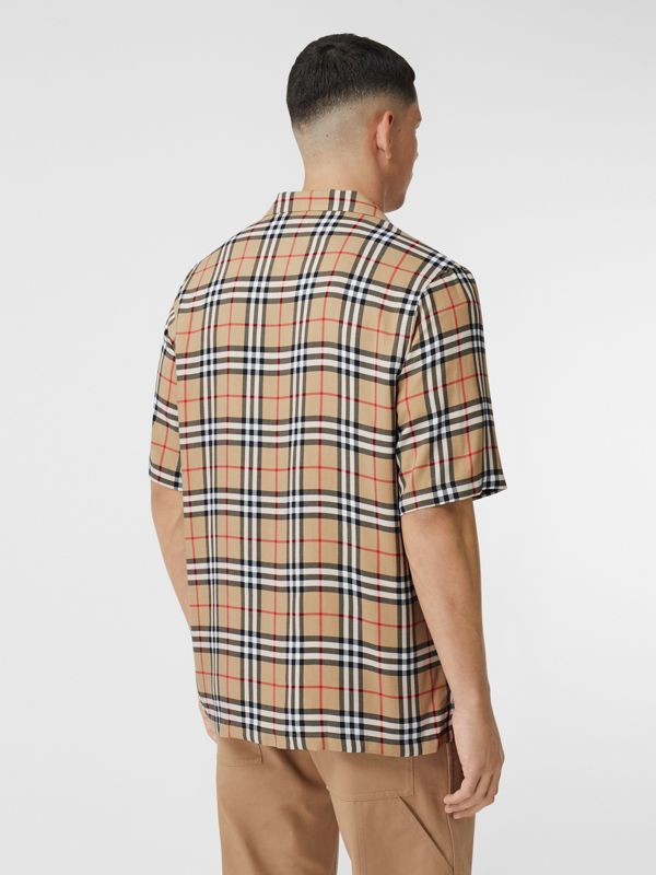 Short-sleeve Vintage Check Twill Shirt in Archive Beige - Men | Burberry United Kingdom - cell image 2