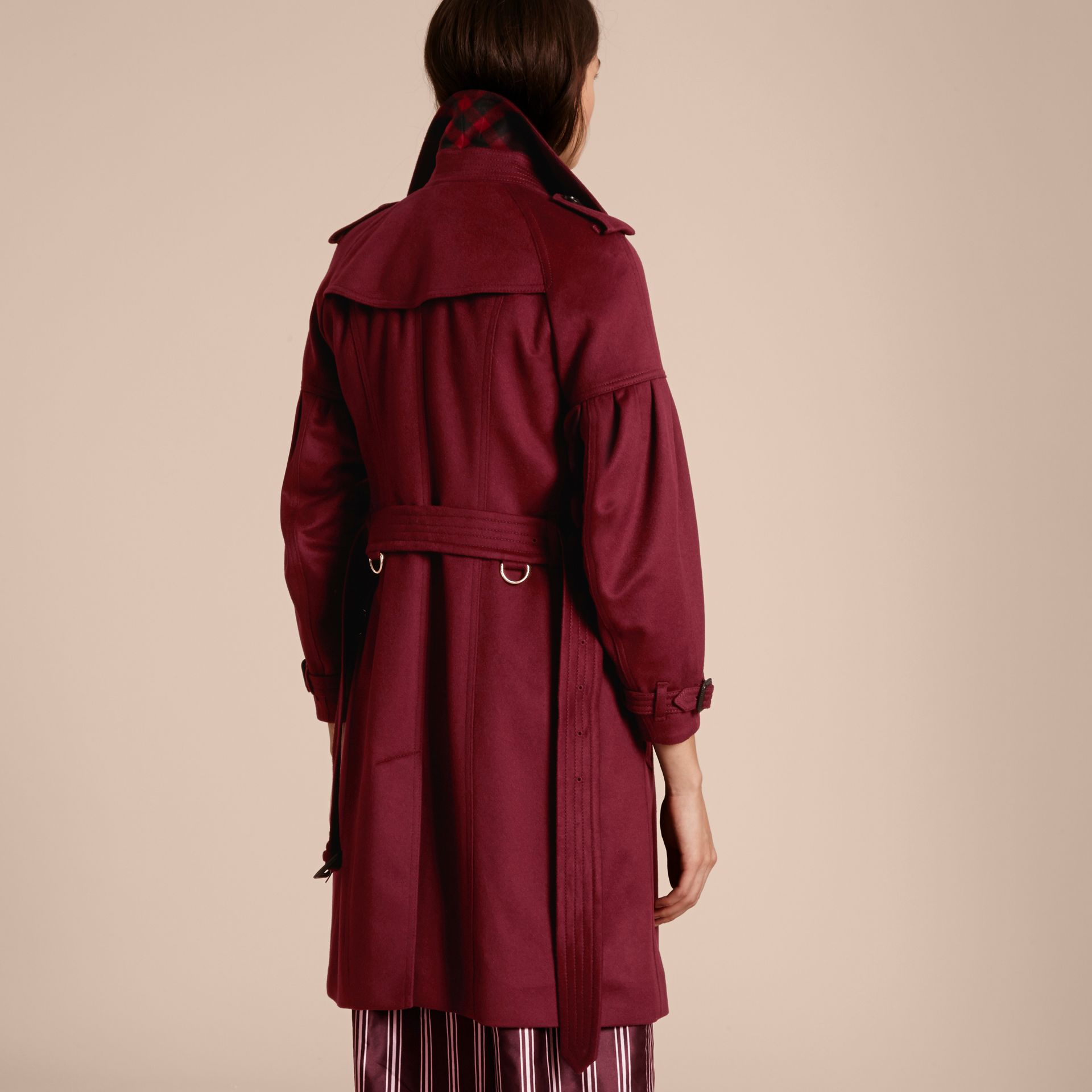 Burgundy Cashmere Trench Coat with Puff Sleeves Burgundy - gallery image 3
