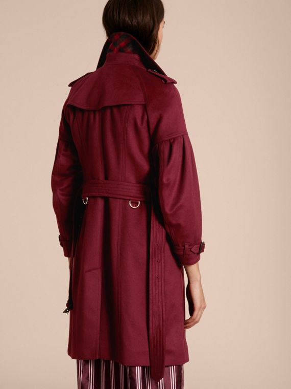 Burgundy Cashmere Trench Coat with Puff Sleeves Burgundy - cell image 2