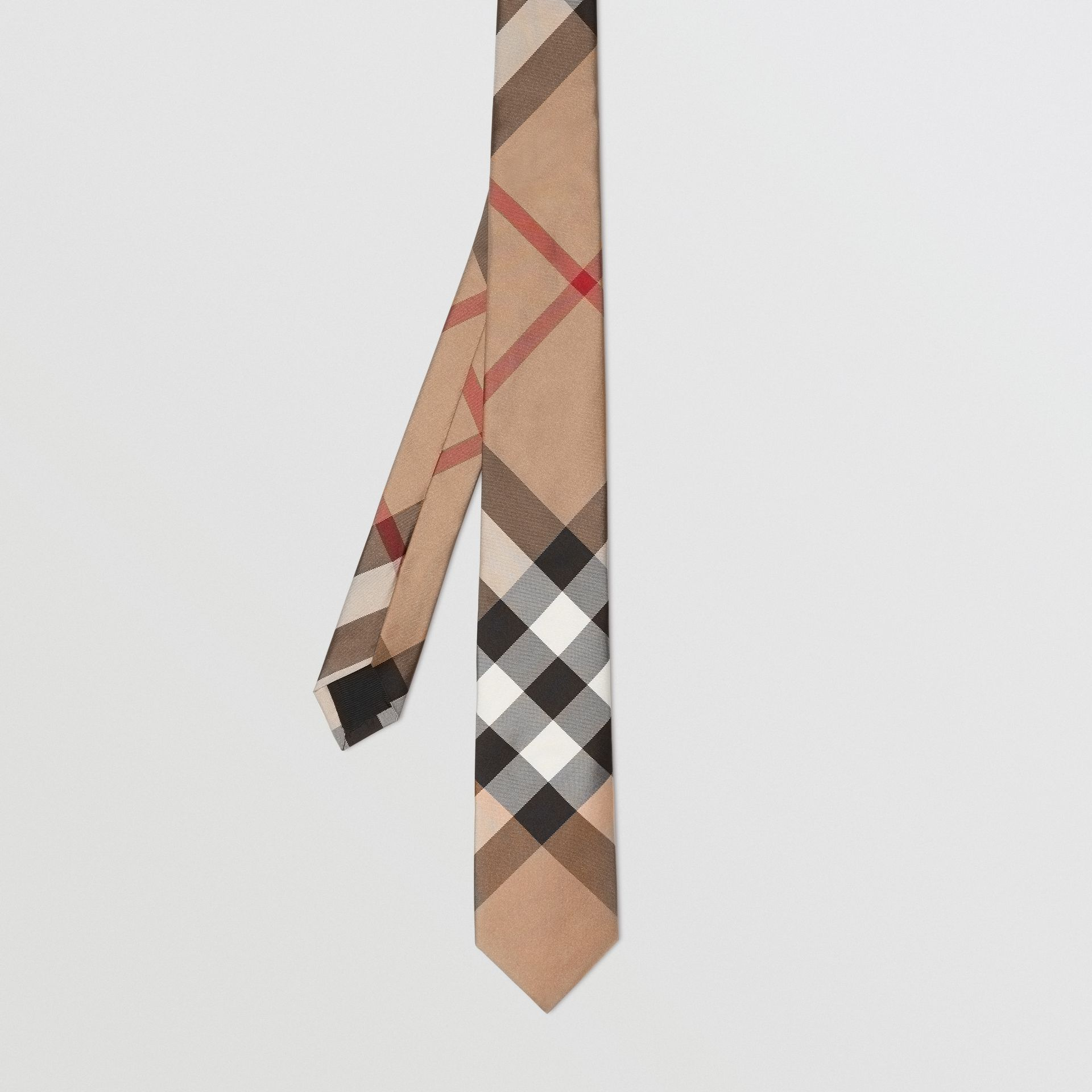 Modern Cut Check Silk Tie in Camel - Men | Burberry United Kingdom - gallery image 3