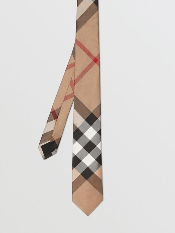Modern Cut Check Silk Tie in Camel - Men | Burberry United Kingdom - cell image 3