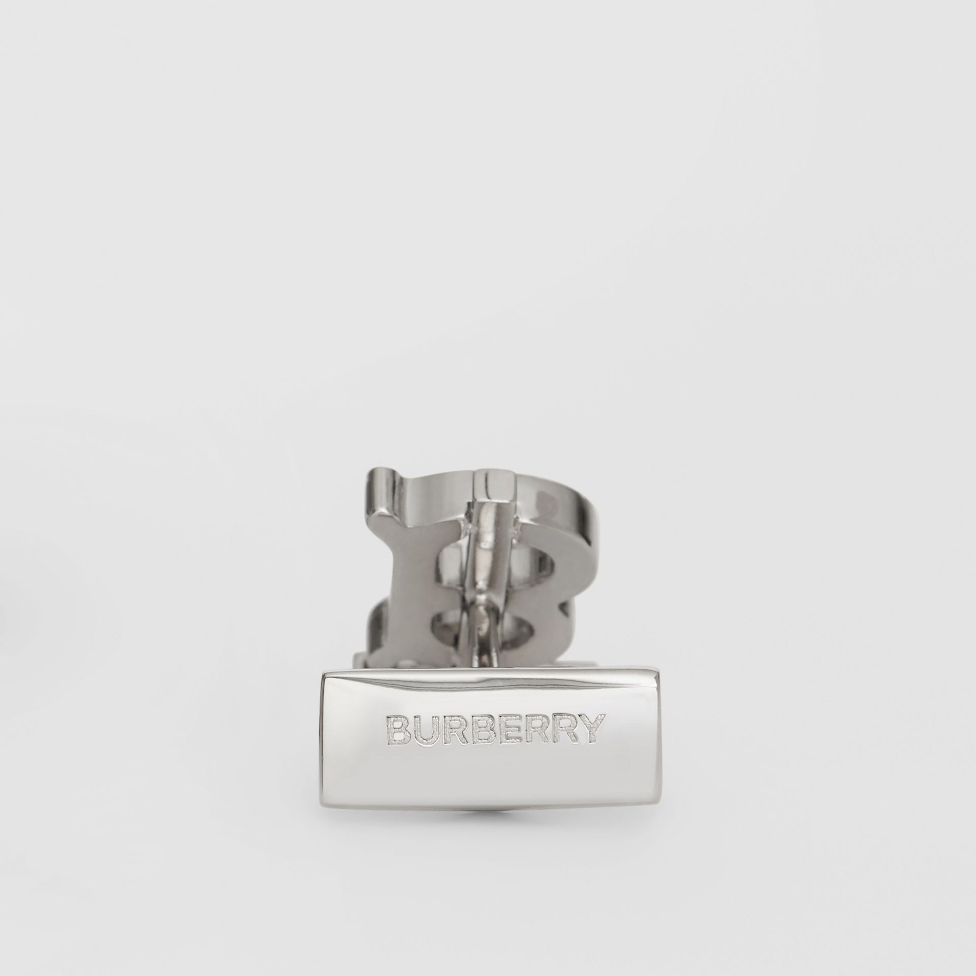 Monogram Motif Enamel and Palladium-plated Cufflinks in Palladium/black - Men | Burberry Australia - gallery image 1