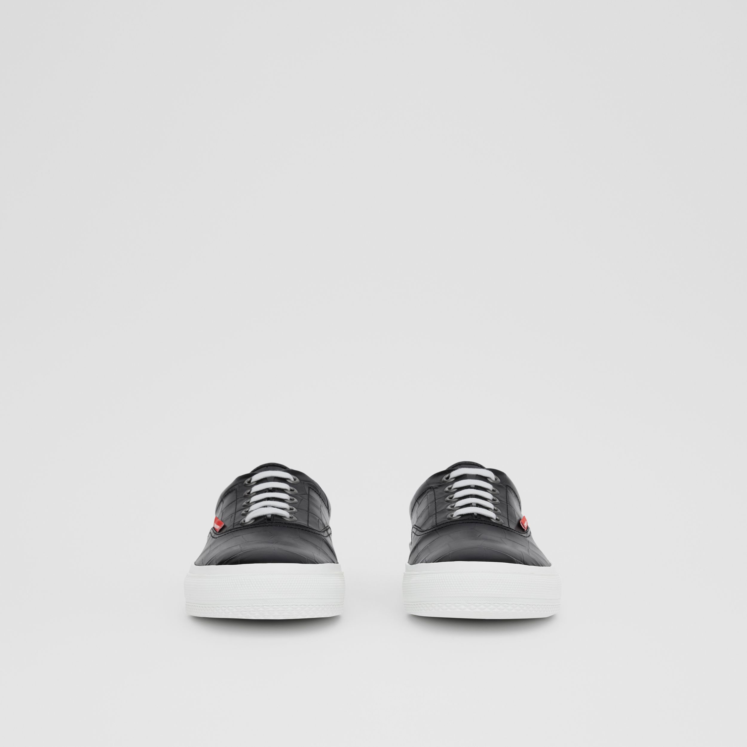 Embossed Leather Sneakers in Black - Men | Burberry - 3