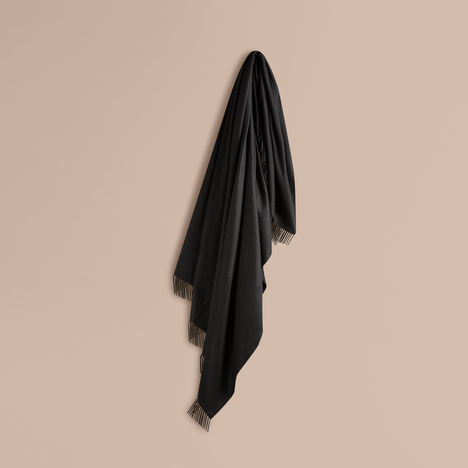 Black Cashmere Blanket Black - gallery image 1