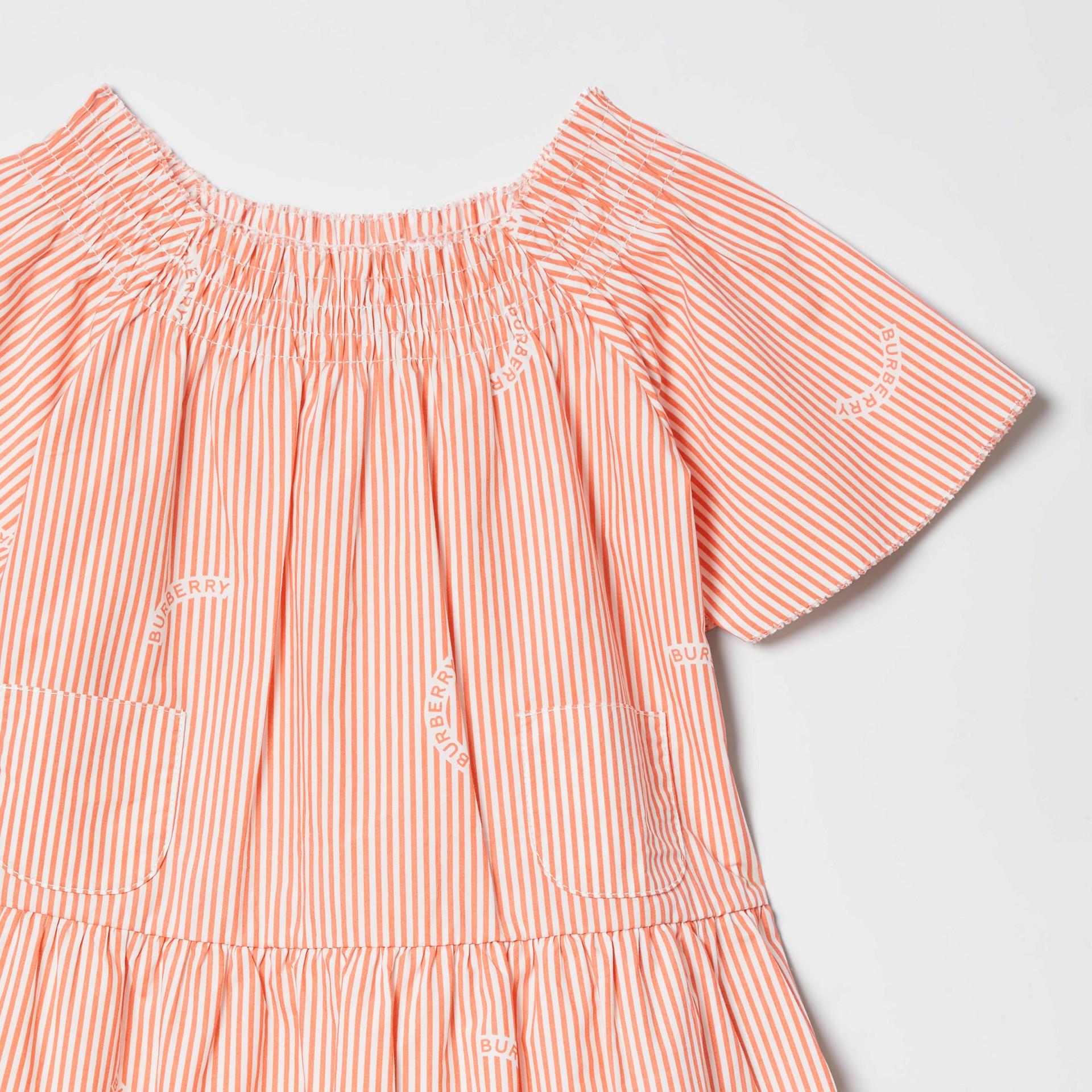 Ruched Neck Stripe Print Cotton Silk Dress in Coral Orange - Children | Burberry United Kingdom - gallery image 4