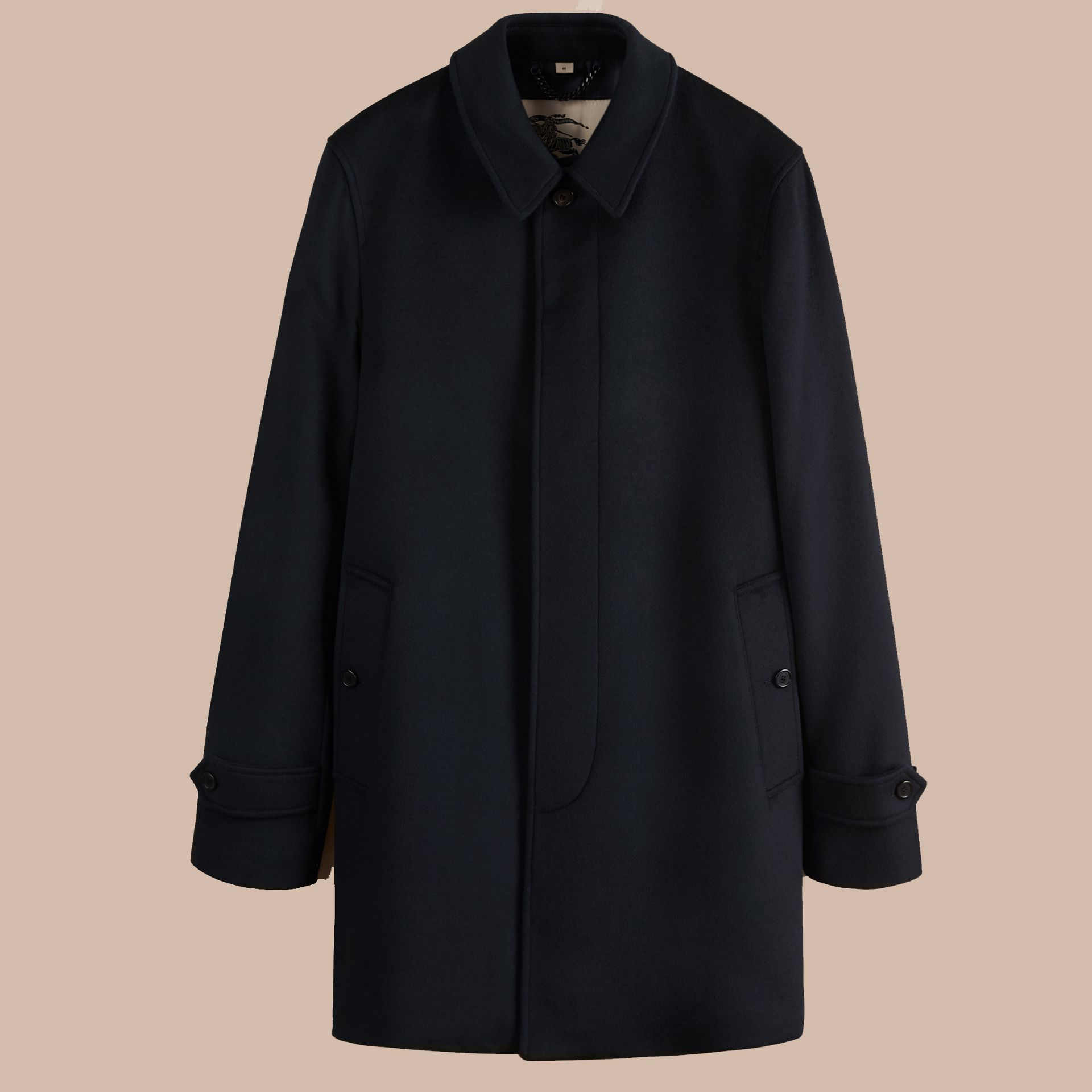 Navy Virgin Wool Cashmere Car Coat Navy - gallery image 4