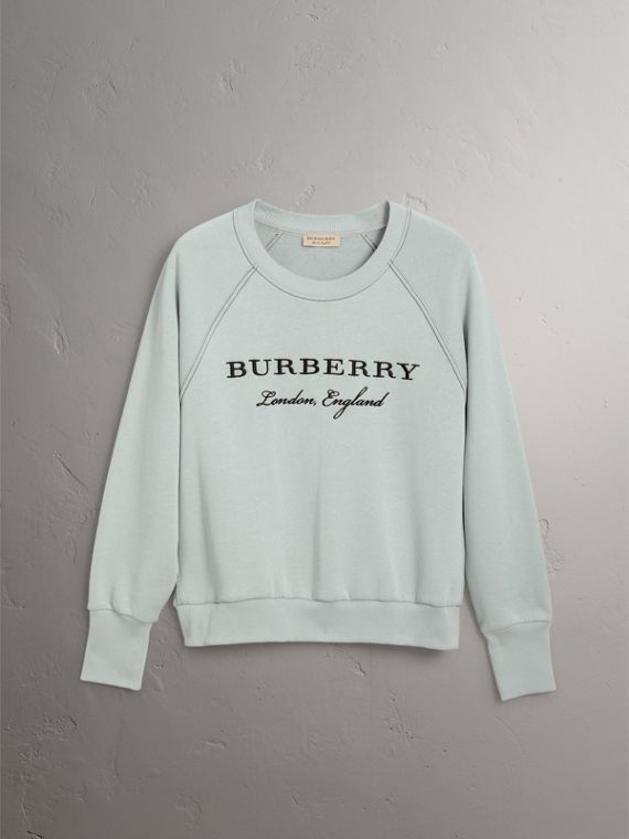 Embroidered Cotton Blend Jersey Sweatshirt in Pale Mineral Blue