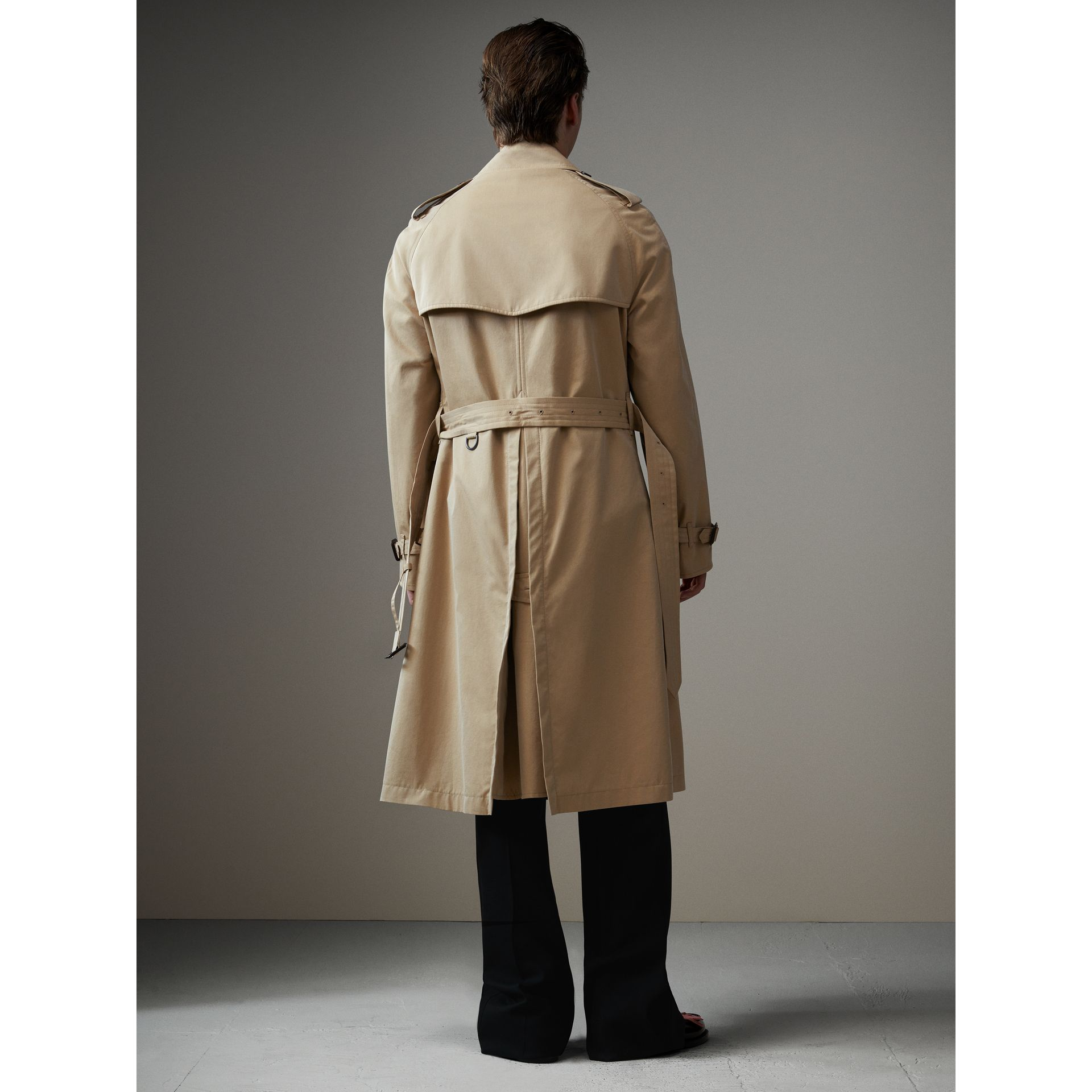 Tartan-lined Cotton Gabardine Trench Coat in Honey - Men | Burberry Australia - gallery image 2