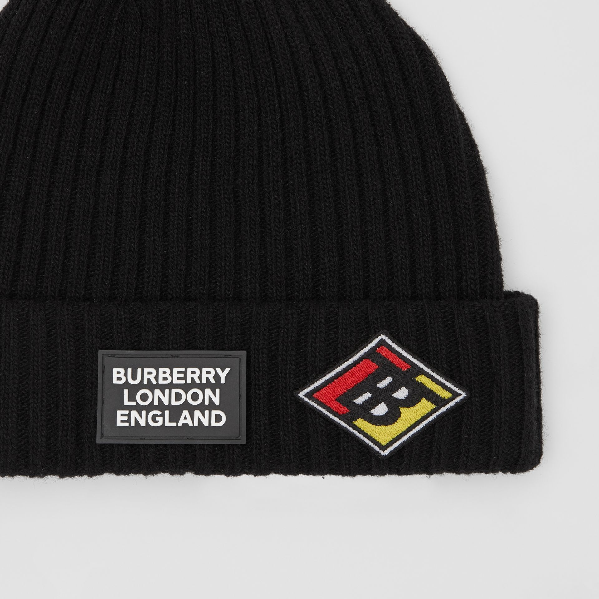 Logo Graphic Rib Knit Wool Beanie in Black | Burberry - gallery image 1