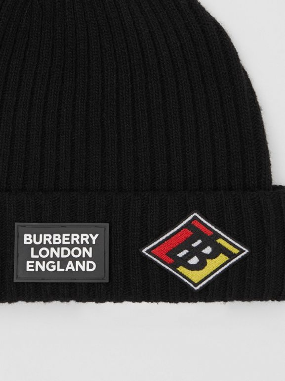 Logo Graphic Rib Knit Wool Beanie in Black | Burberry - cell image 1