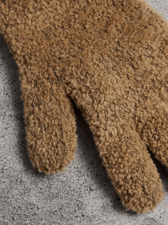 Chenille Longline Gloves in Camel - Women | Burberry United Kingdom - cell image 1