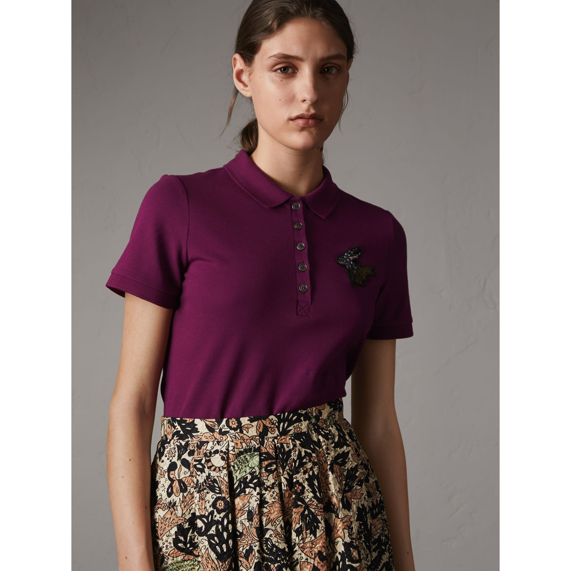 Beasts Motif Stretch Cotton Piqué Polo Shirt in Magenta Pink - Women | Burberry - gallery image 1