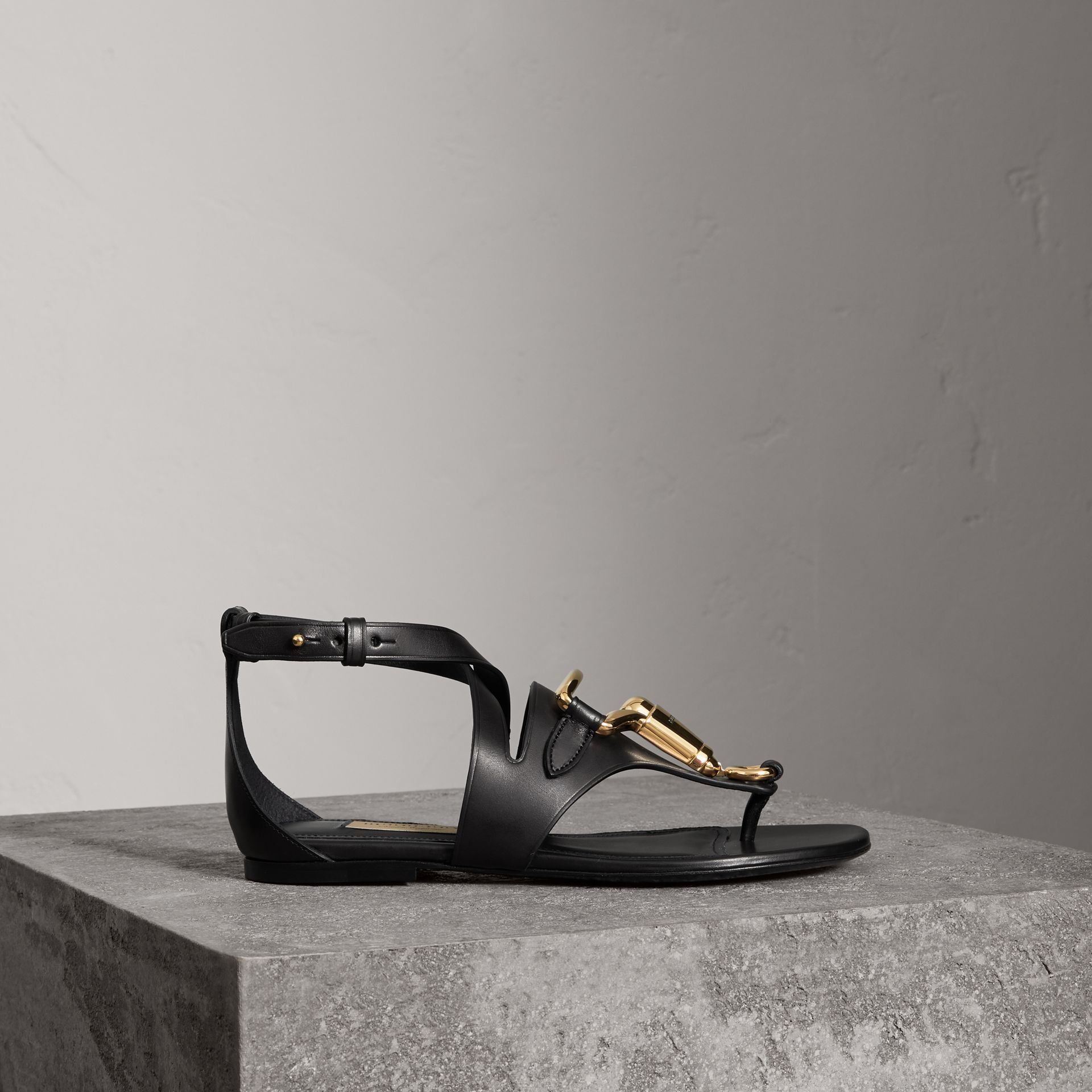 Equestrian Detail Leather Sandals in Black - Women | Burberry - gallery image 0