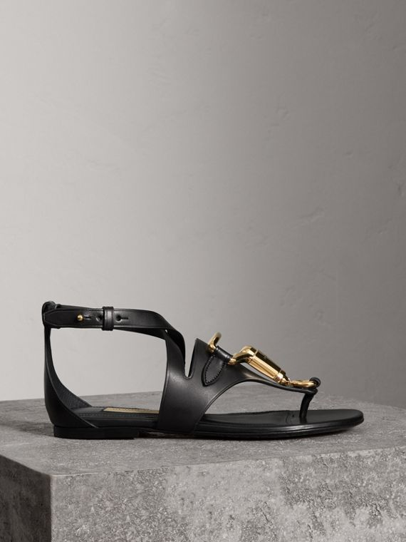 Equestrian Detail Leather Sandals in Black