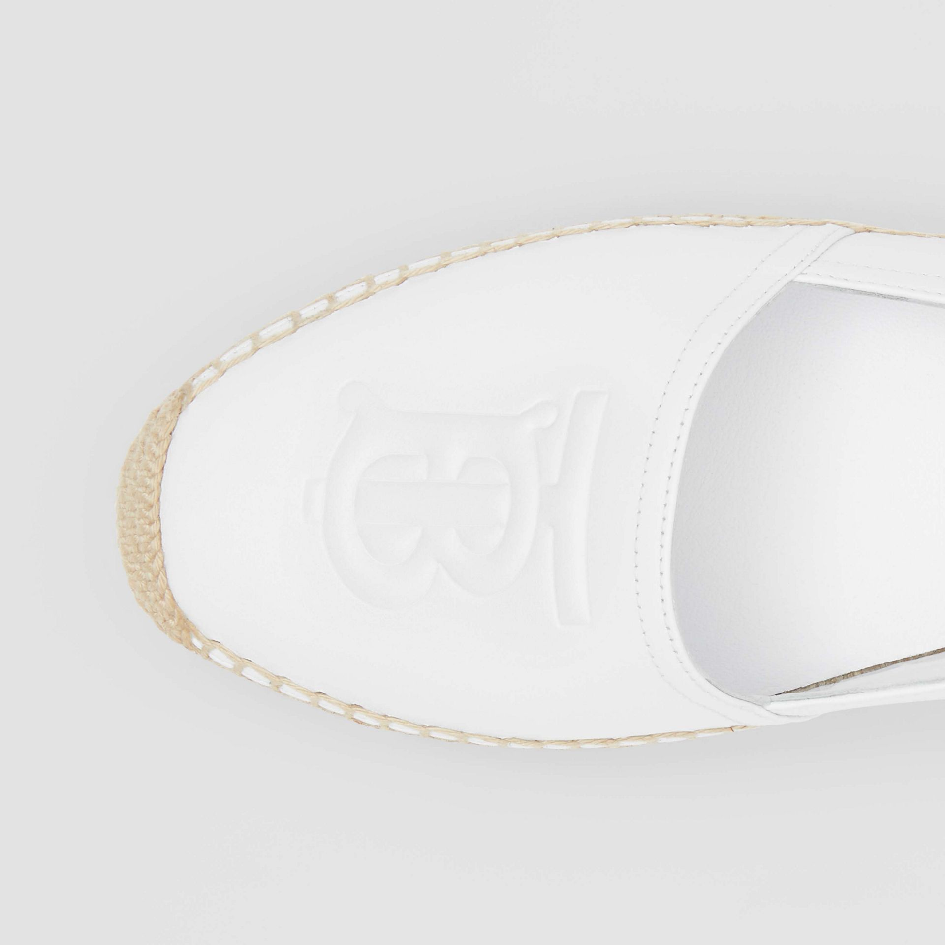 Monogram Motif Leather Espadrilles in White - Women | Burberry - gallery image 1