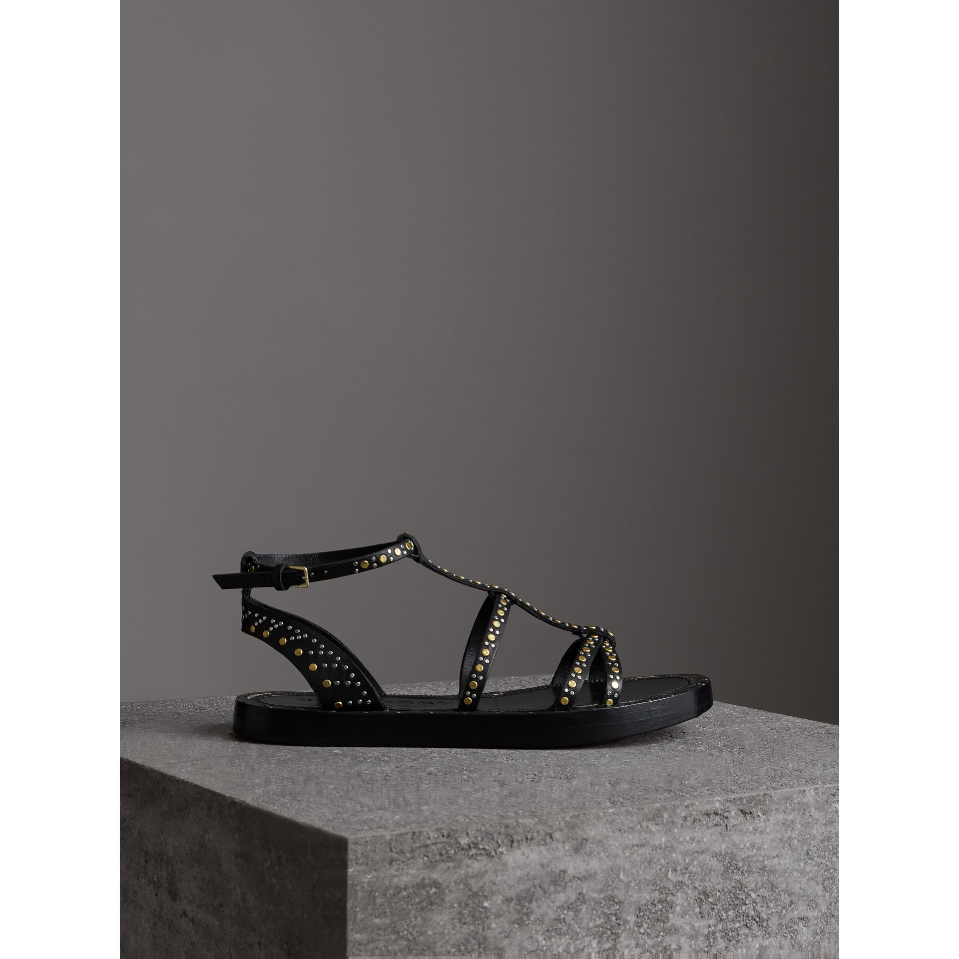 Riveted Leather Gladiator Sandals in Black - Women | Burberry - gallery image 4