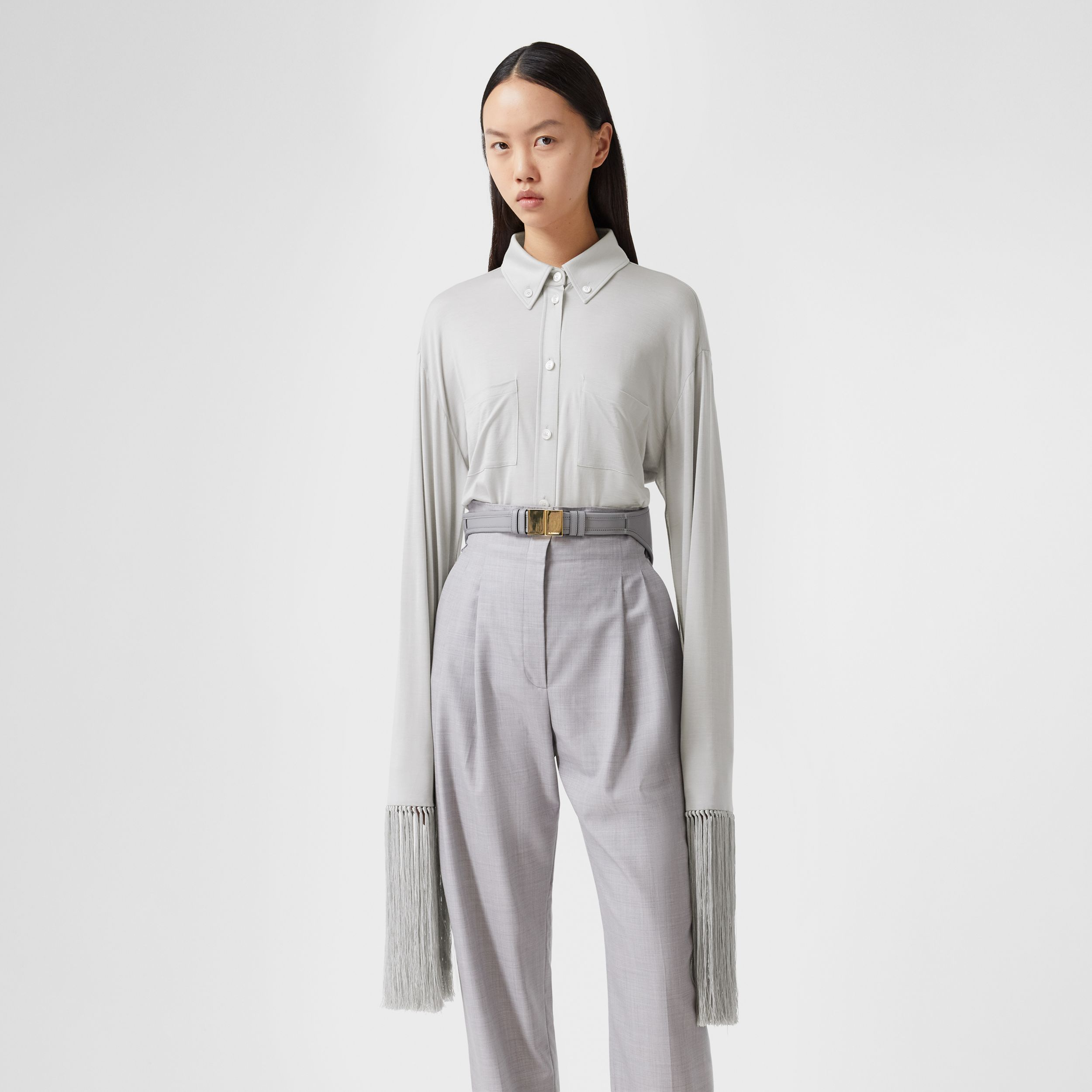 Fringed Silk Wool Jersey Shirt in Grey Melange - Women | Burberry - 1