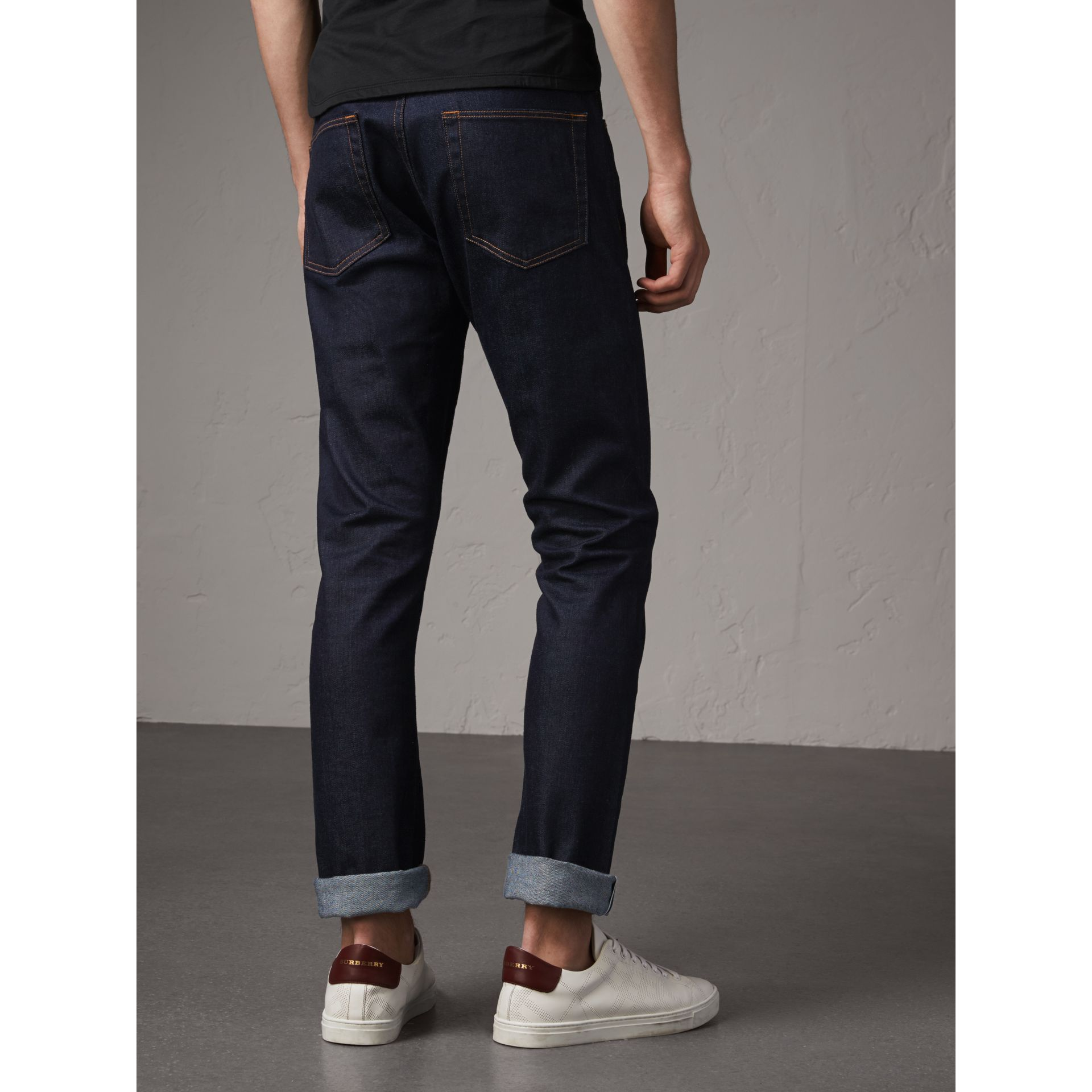 Straight Fit Stretch Japanese Selvedge Denim Jeans in Dark Indigo - Men | Burberry - gallery image 3