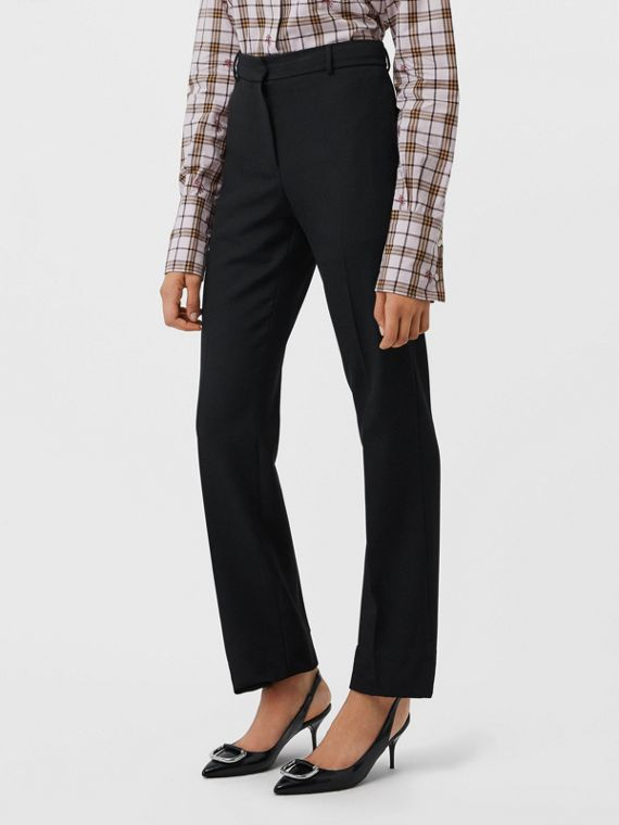 Straight Fit Stretch Wool Tailored Trousers in Black