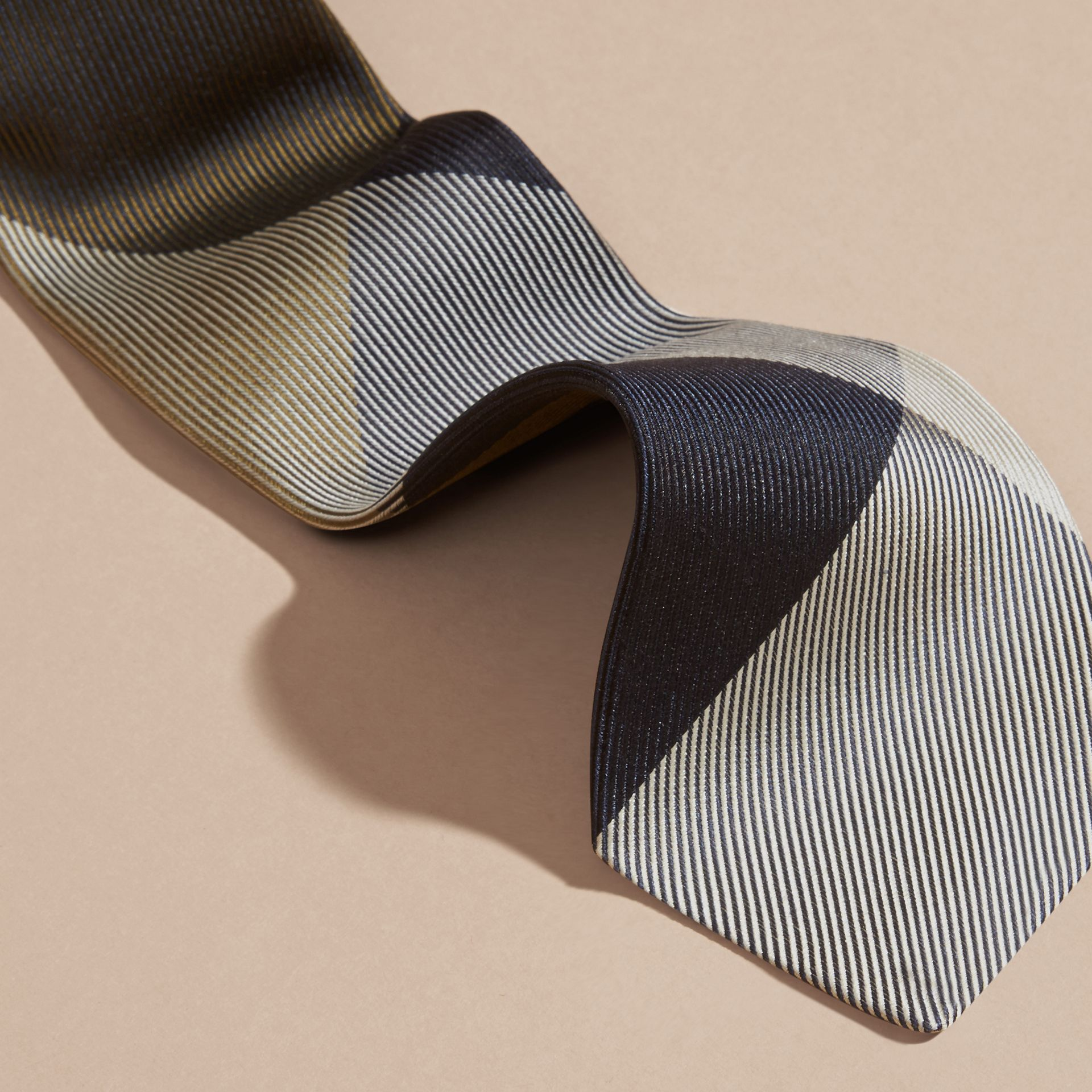 Olive green Modern Cut Check Jacquard Silk Tie Olive Green - gallery image 2