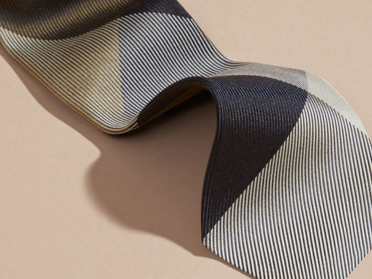 Olive green Modern Cut Check Jacquard Silk Tie Olive Green - cell image 1