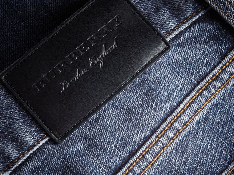 Jean stretch de coupe droite en denim japonais - Homme | Burberry - cell image 1
