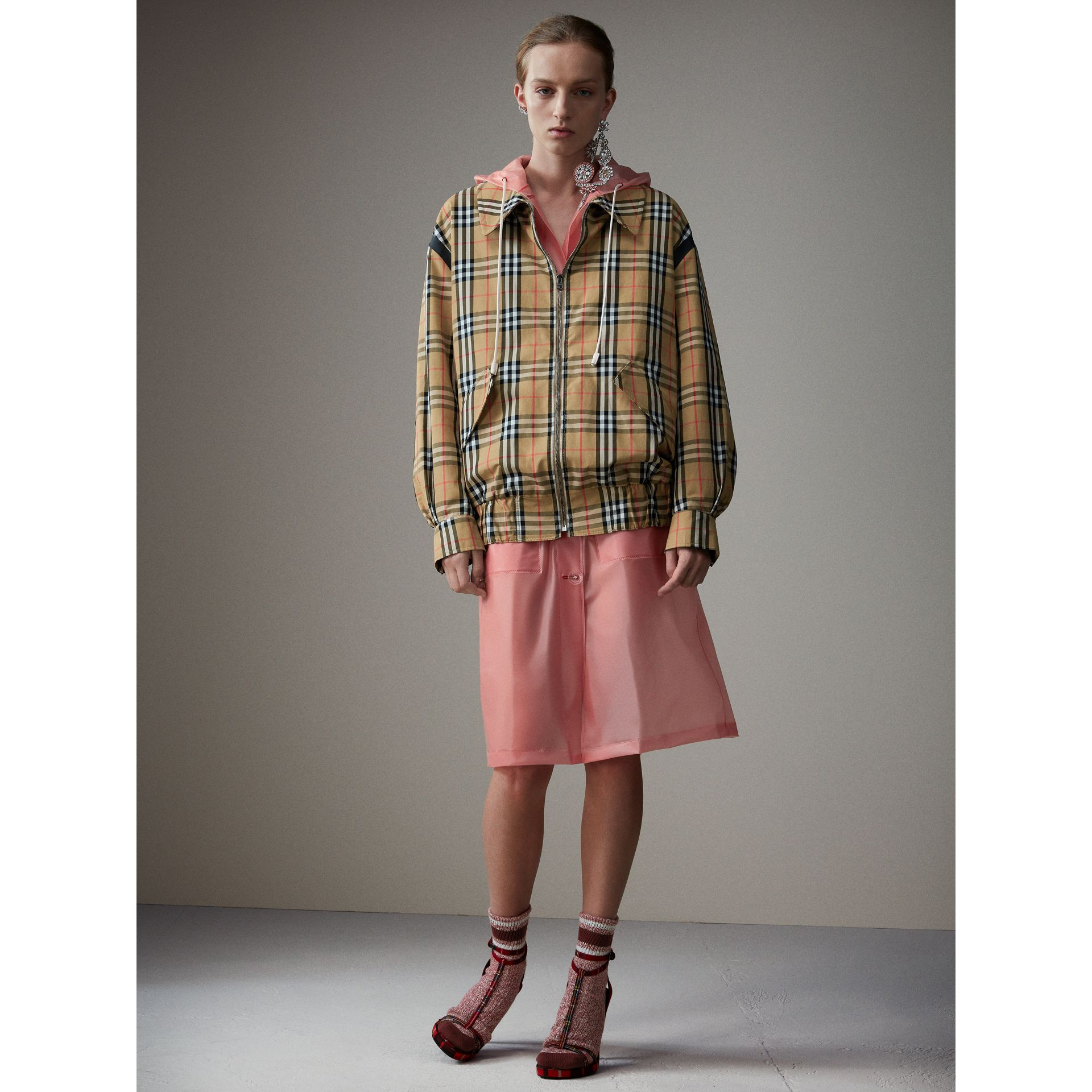 Vintage Check Gabardine Harrington Jacket in Antique Yellow - Women | Burberry Singapore - gallery image 8