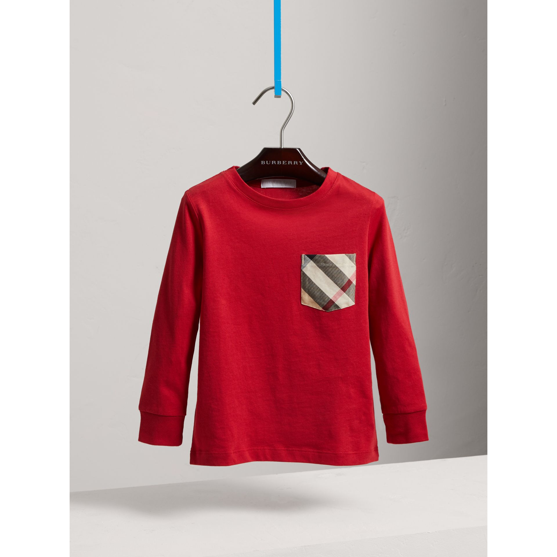 Long-sleeve Check Pocket Cotton T-shirt in Military Red - Boy | Burberry - gallery image 0
