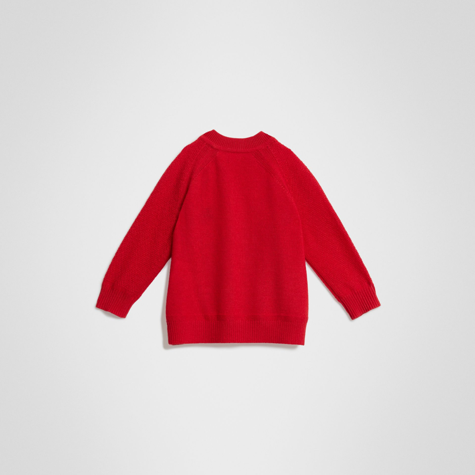 Contrast Motif Cashmere Sweater in Burgundy Red - Children | Burberry Singapore - gallery image 3