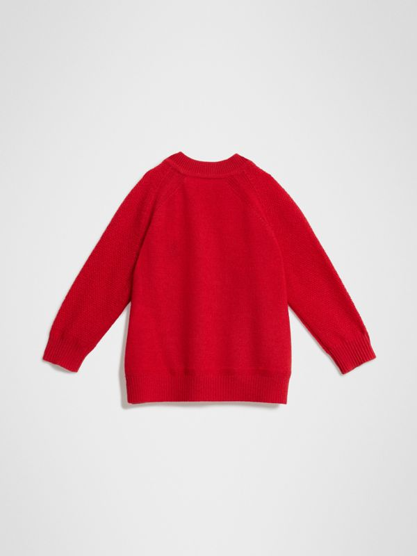 Contrast Motif Cashmere Sweater in Burgundy Red - Children | Burberry Singapore - cell image 3