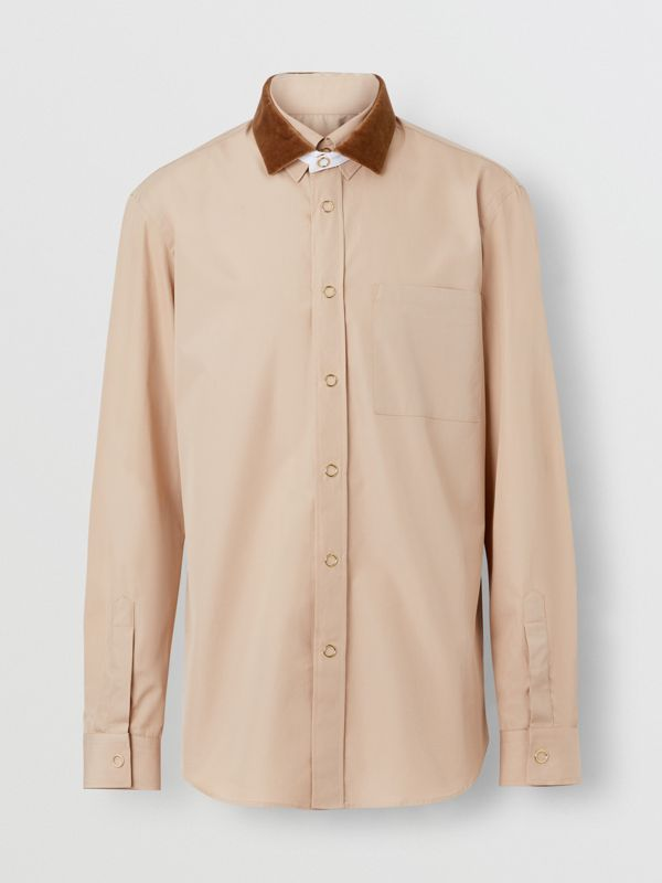 Classic Fit Detachable Collar Cotton Poplin Shirt in Soft Fawn - Men | Burberry Singapore - cell image 3