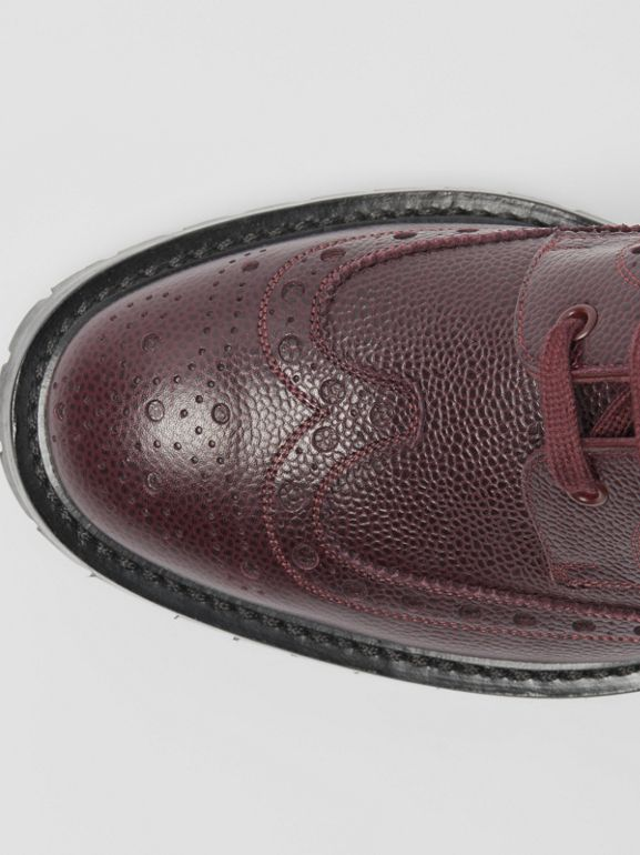 Brogue Detail Grainy Leather Boots in Bordeaux - Men | Burberry United States - cell image 1