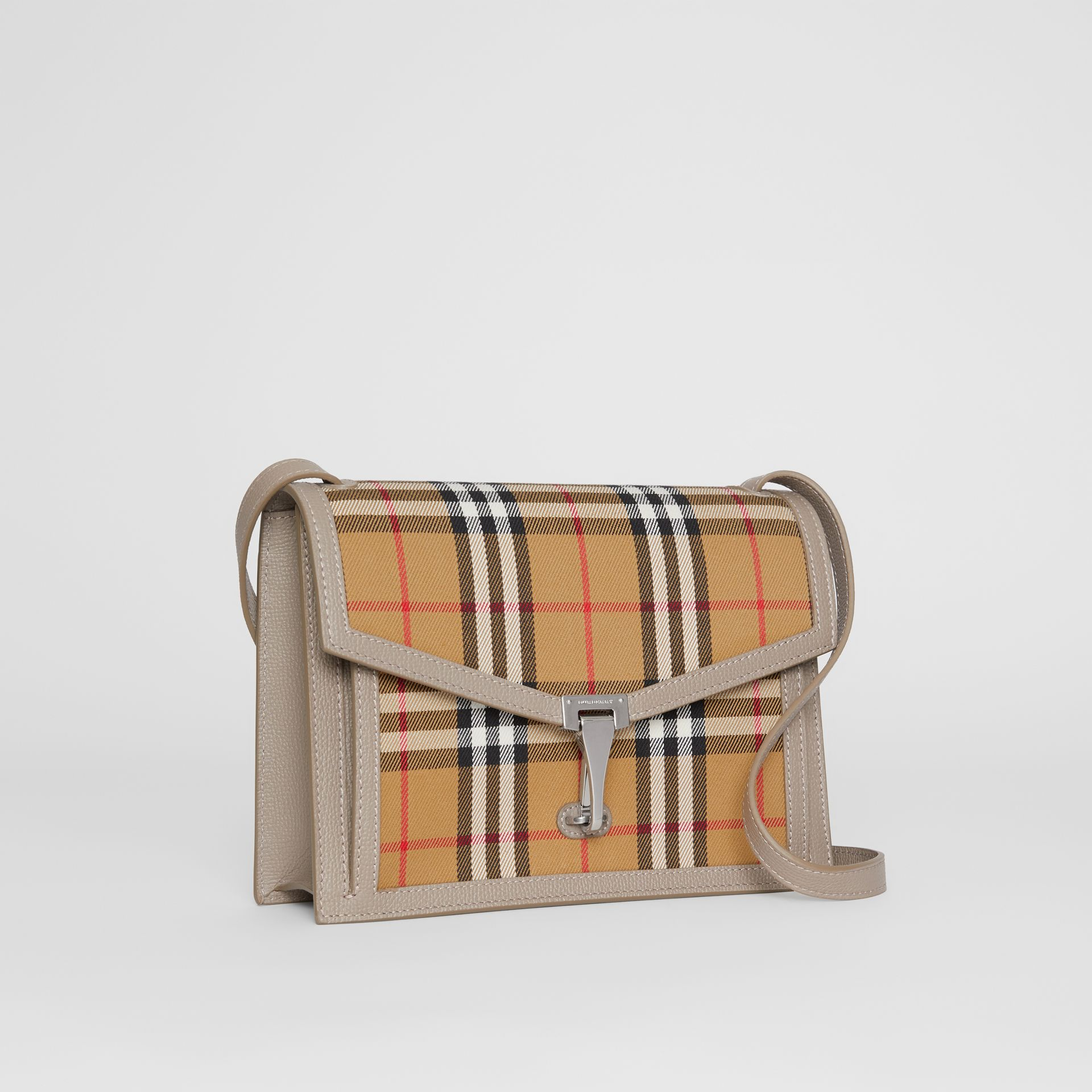 Small Vintage Check and Leather Crossbody Bag in Taupe Brown - Women | Burberry Australia - gallery image 6