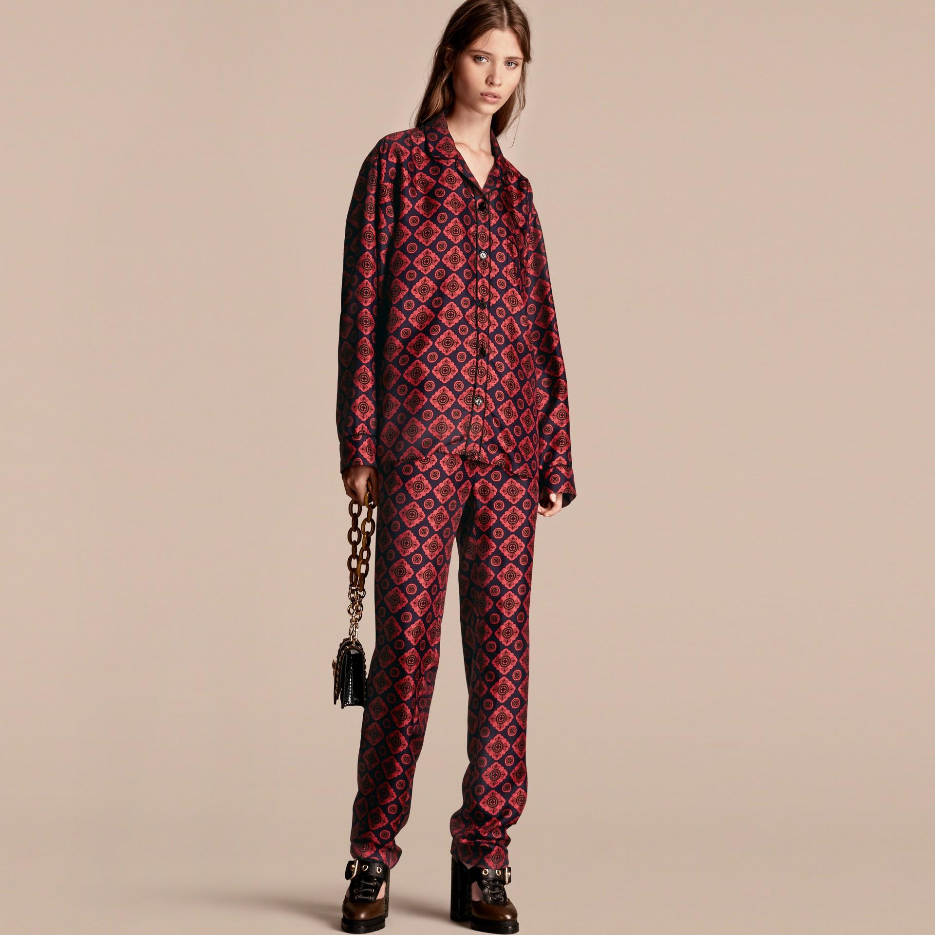 Geometric Tile Print Silk Pyjama-style Shirt - gallery image 6