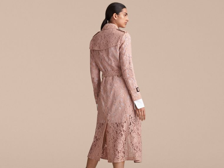 Macramé Lace Trench Coat Pale Pink - cell image 1