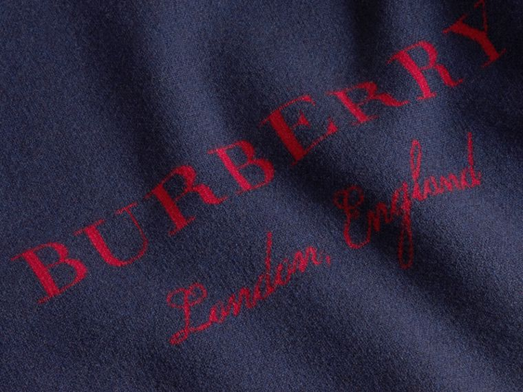 Topstitch Detail Wool Cashmere Blend Sweater in Navy - Women | Burberry Hong Kong - cell image 1