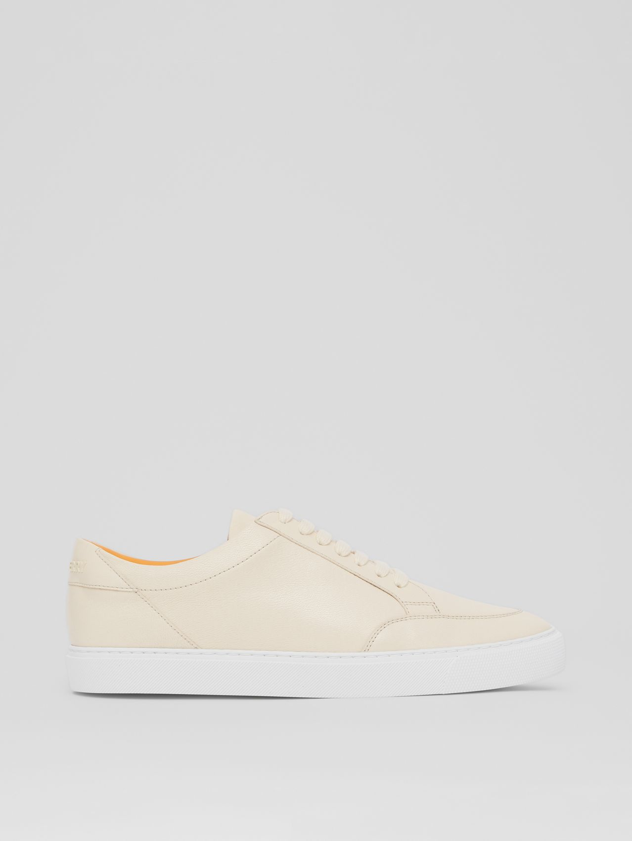 Logo Detail Lambskin Sneakers in Pale Biscuit