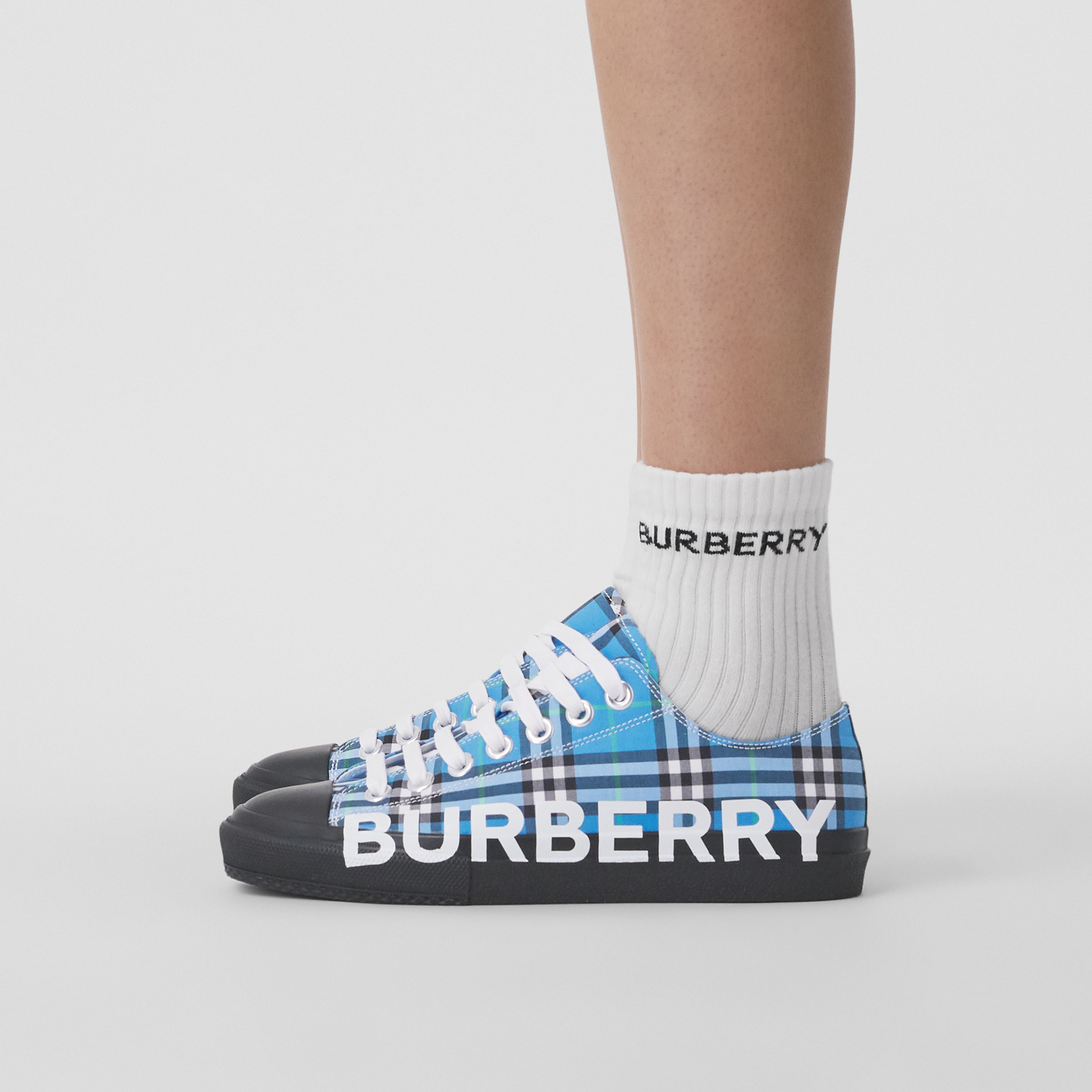 Logo Print Check Cotton Sneakers in Blue Azure - Women | Burberry United States - 3