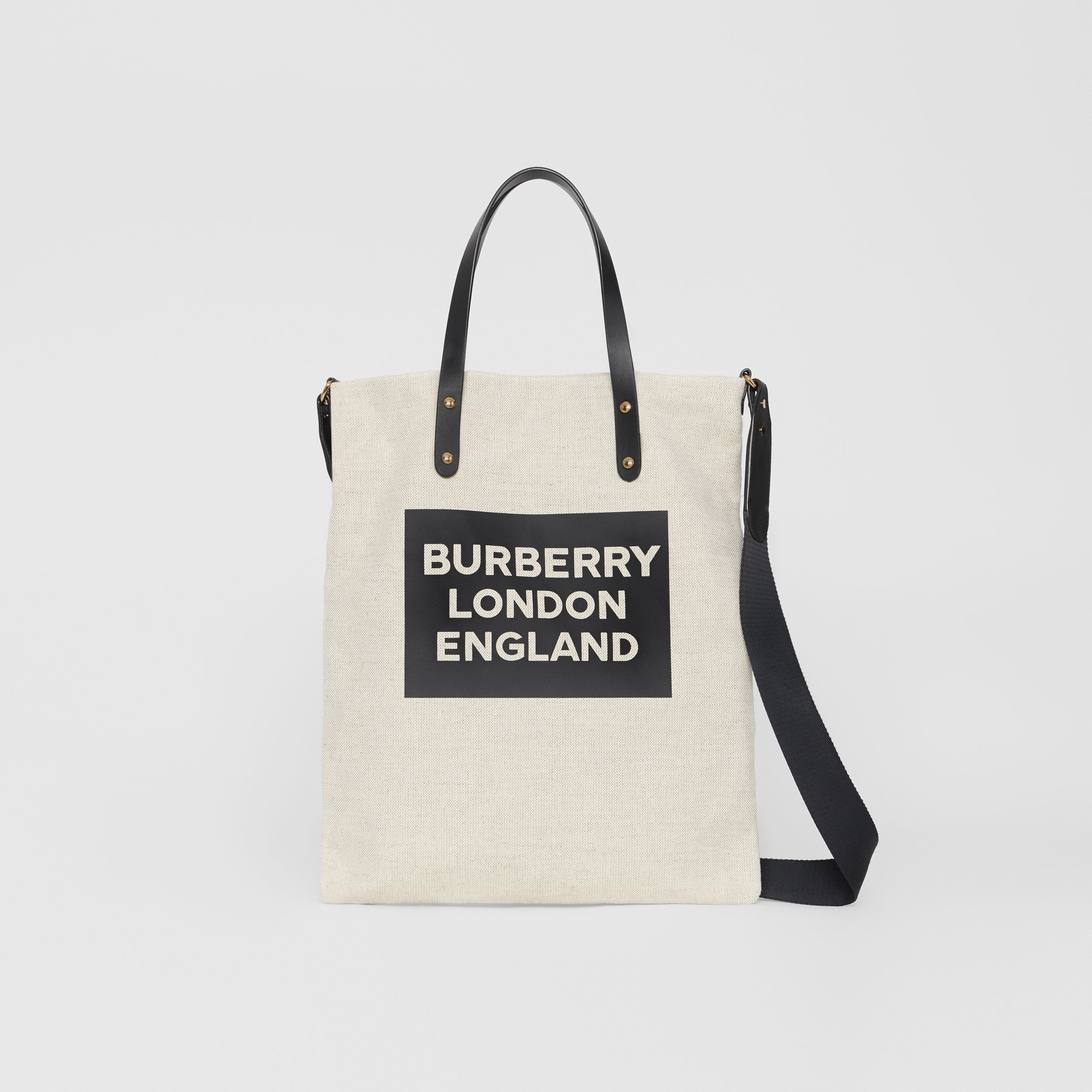 Logo Cotton Canvas Tote Bag in Natural | Burberry - 1