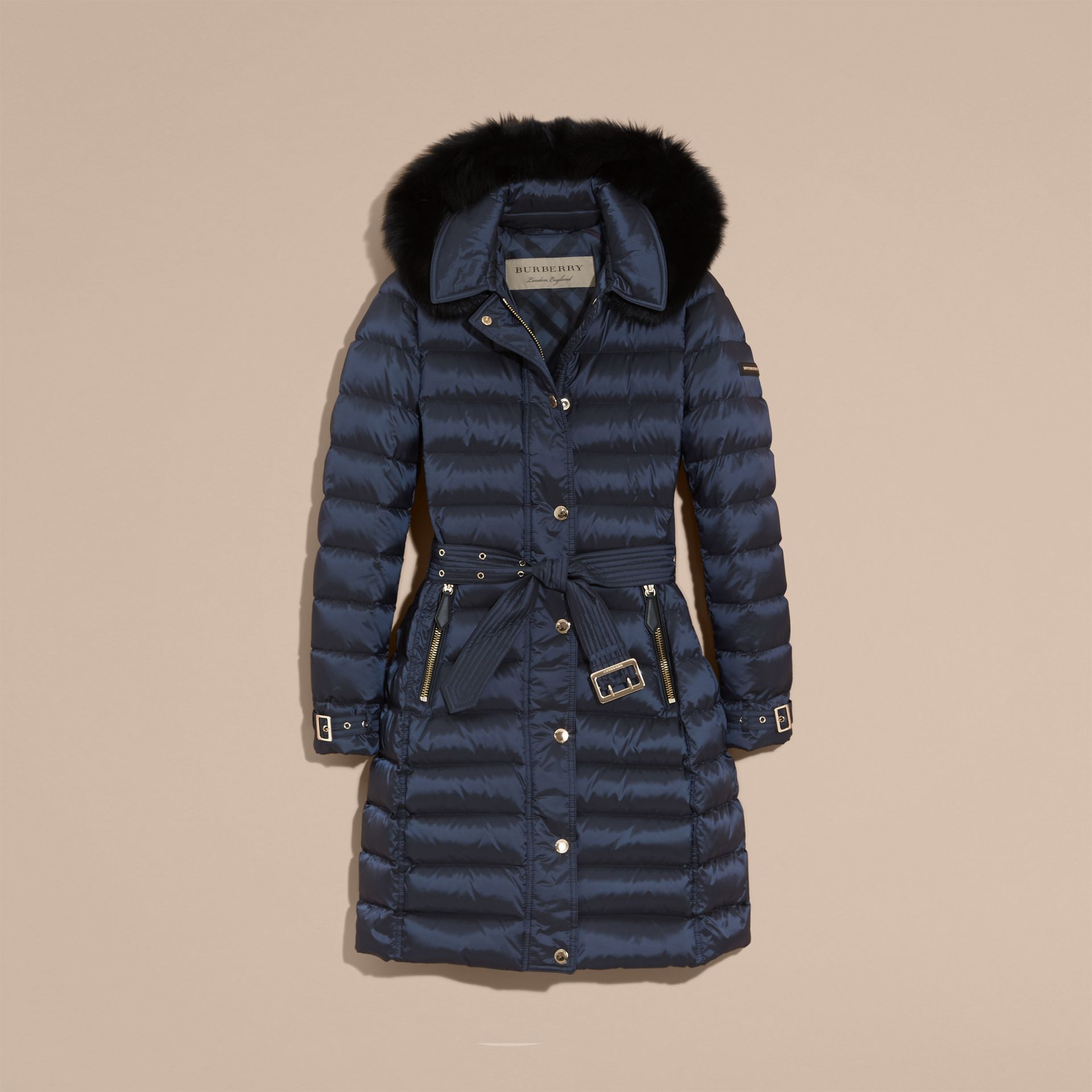 Down-filled Coat with Fox Fur Trim Hood in Navy - Women | Burberry - gallery image 4